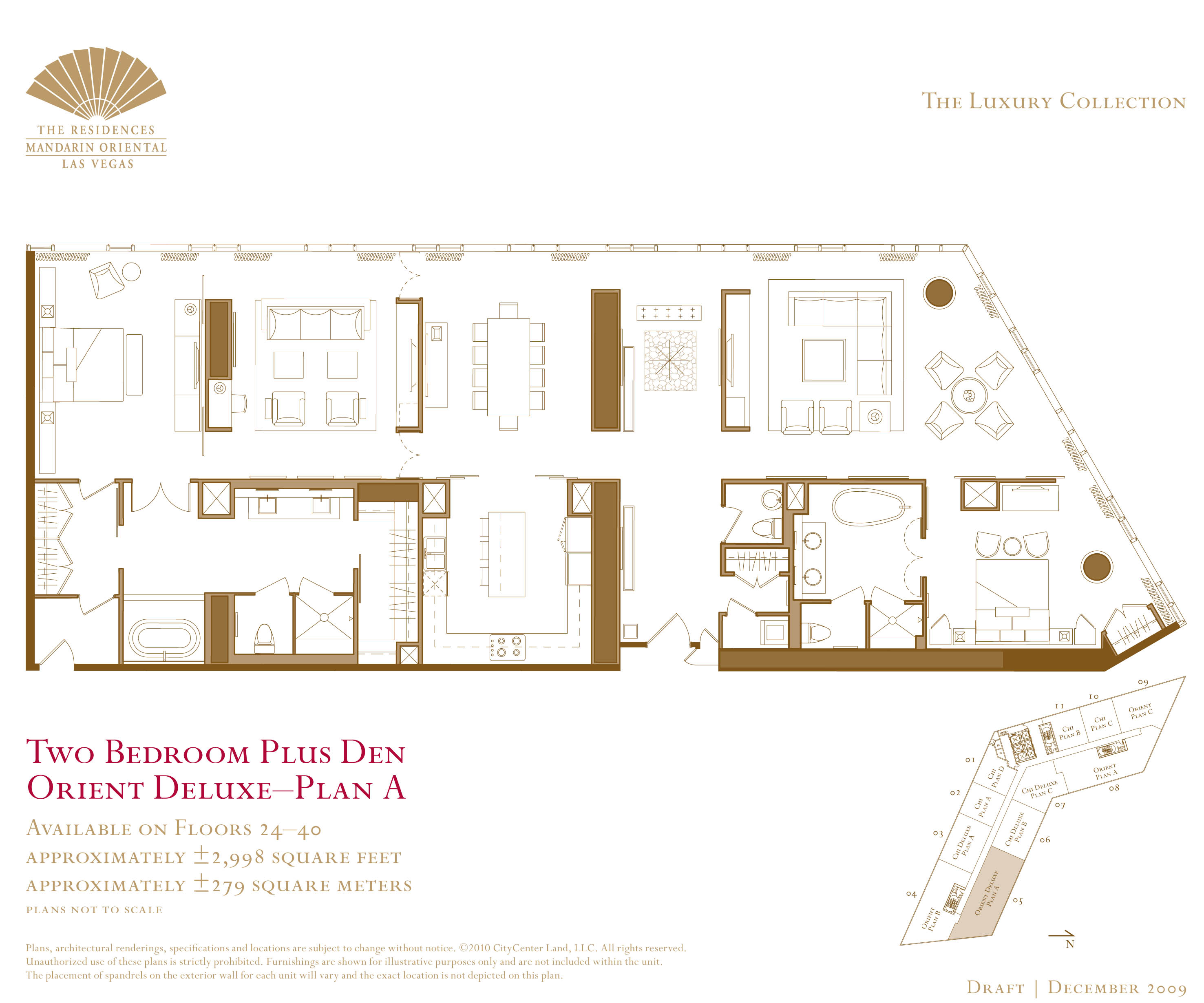 Mandarin Residences Vegas Mandarin Vegas Two Bedroom and Den Floorplan. las vegas strip condos   Page 2   Las Vegas Condos For Sale