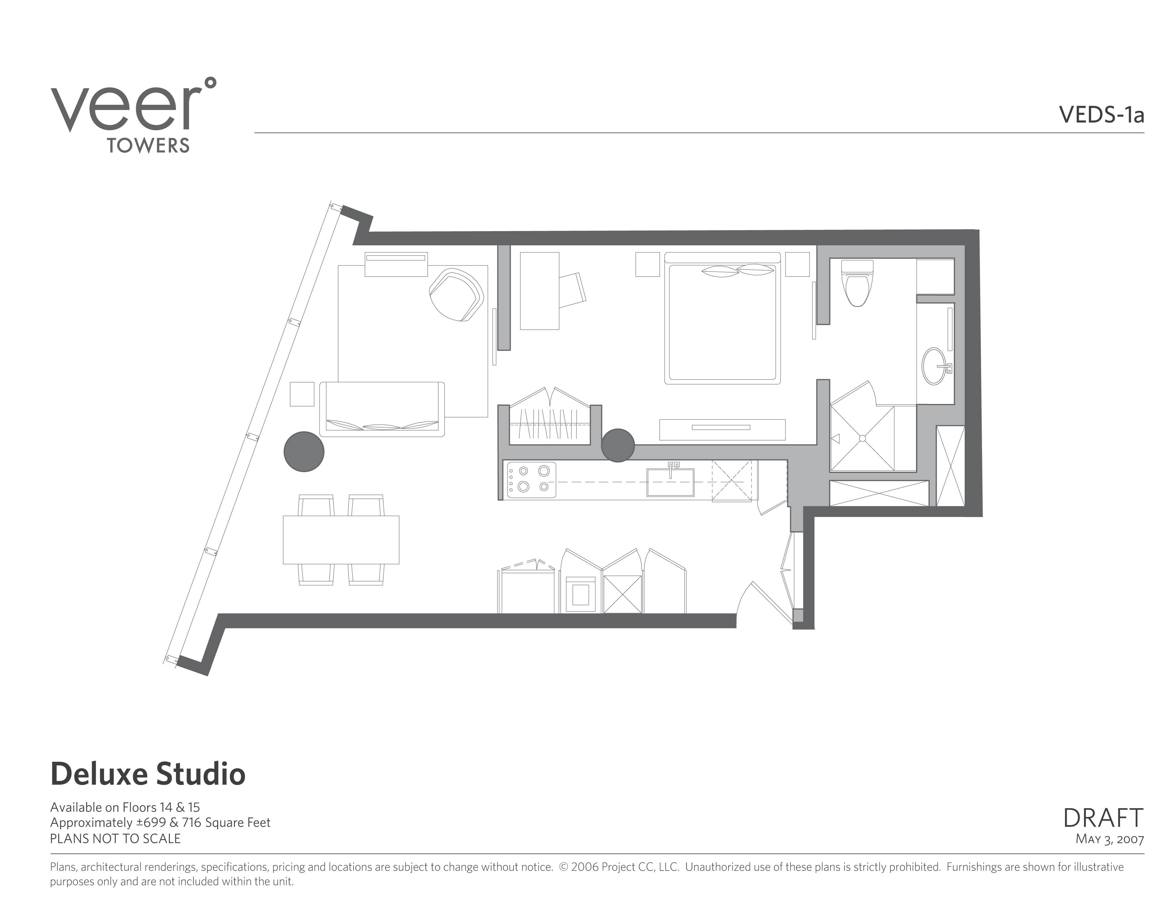 Veer Towers Deluxe Studio Floorplan Copy Las Vegas